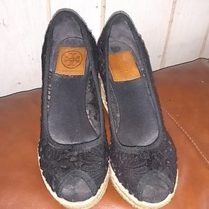 Tory Burch Lace Wedge Platform Wedge Shoes Size 7B